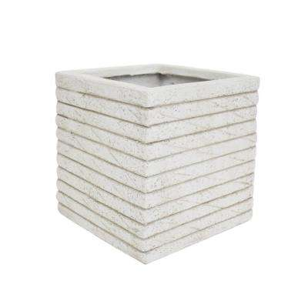 Kaden 10.75 in. x 10.75 in. Antique White Lightweight Concrete Outdoor Garden Urn Planter