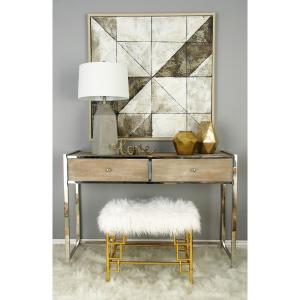 White Faux Fur Rectangular Ottoman with Gold Iron Pipe Legs by