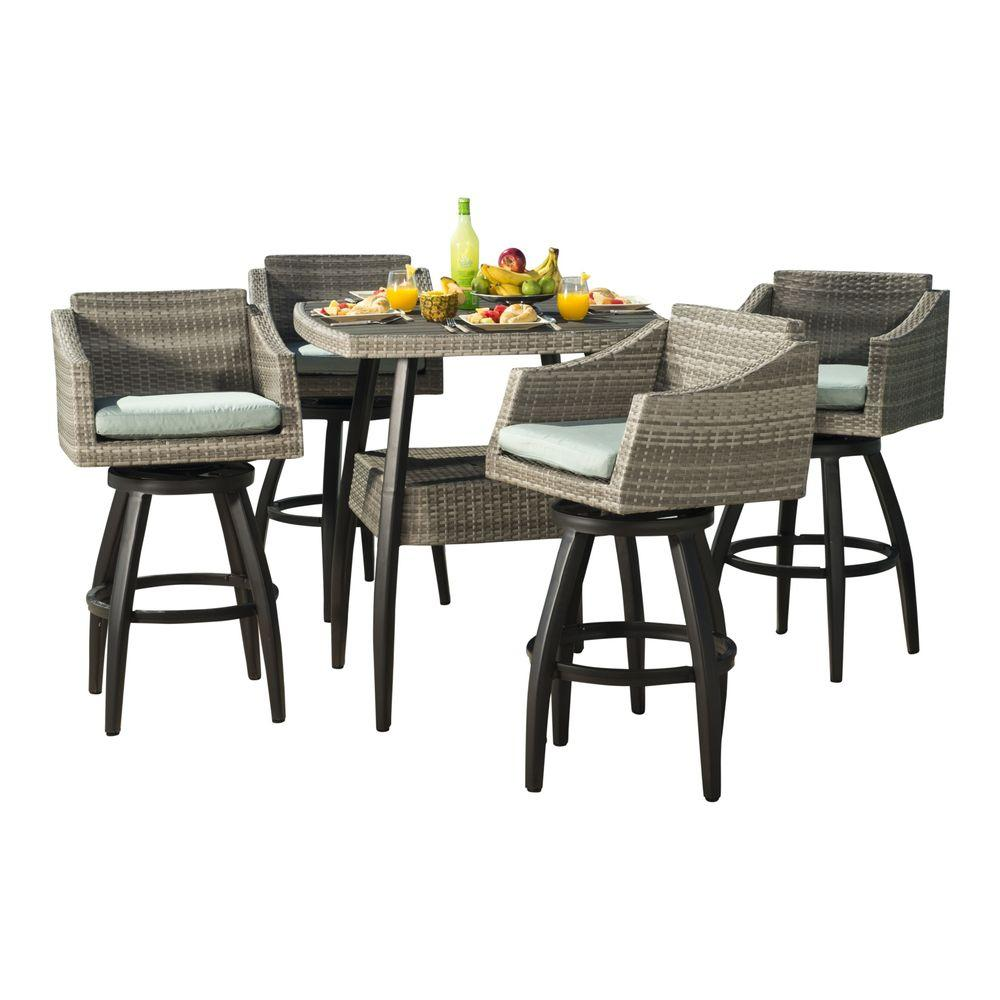 RST Brands Cannes 5Piece AllWeather Wicker Patio Bar Height
