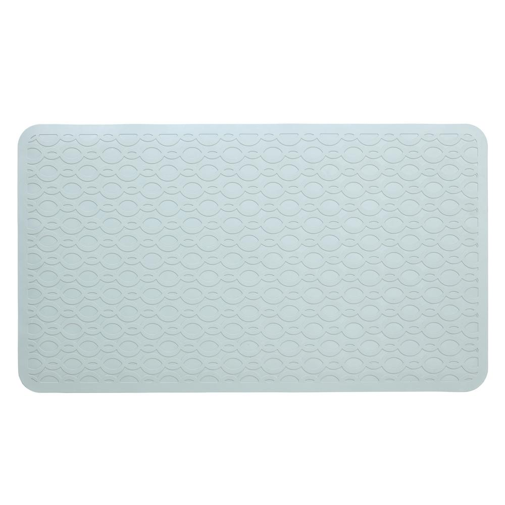 SlipX Solutions 15 in. x 27 in. Large Rubber Safety Bath Mat with Microban in Gray