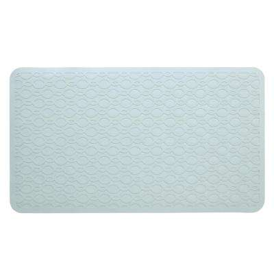 15 in. x 27 in. Large Rubber Safety Bath Mat with Microban in Gray