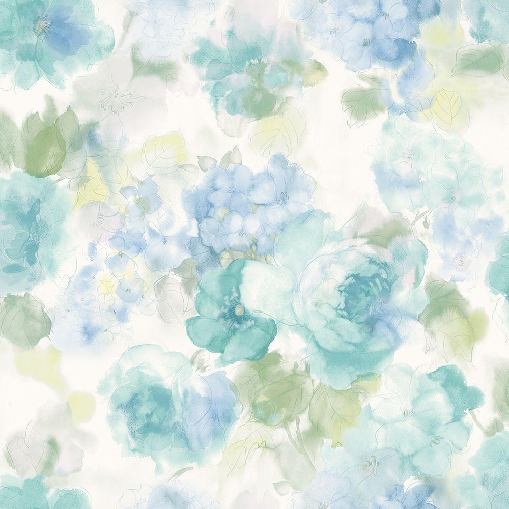 Winifred Blue Japanese Peony Wallpaper