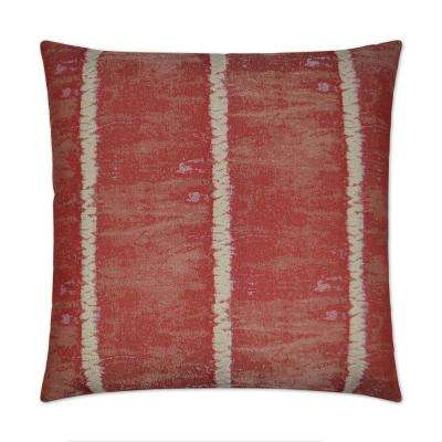 Shibori Red Feather Down 24 in. x 24 in. Standard Decorative Throw Pillow