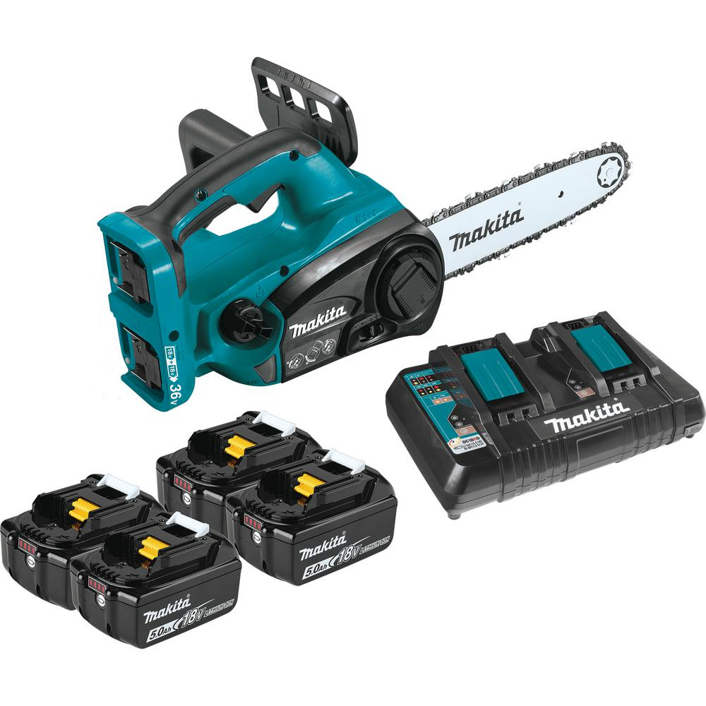 Makita 12 in. 18-Volt X2 (36-Volt) LXT Lithium-Ion Cordless Chain Saw Kit with 4 Batteries (5.0 Ah)