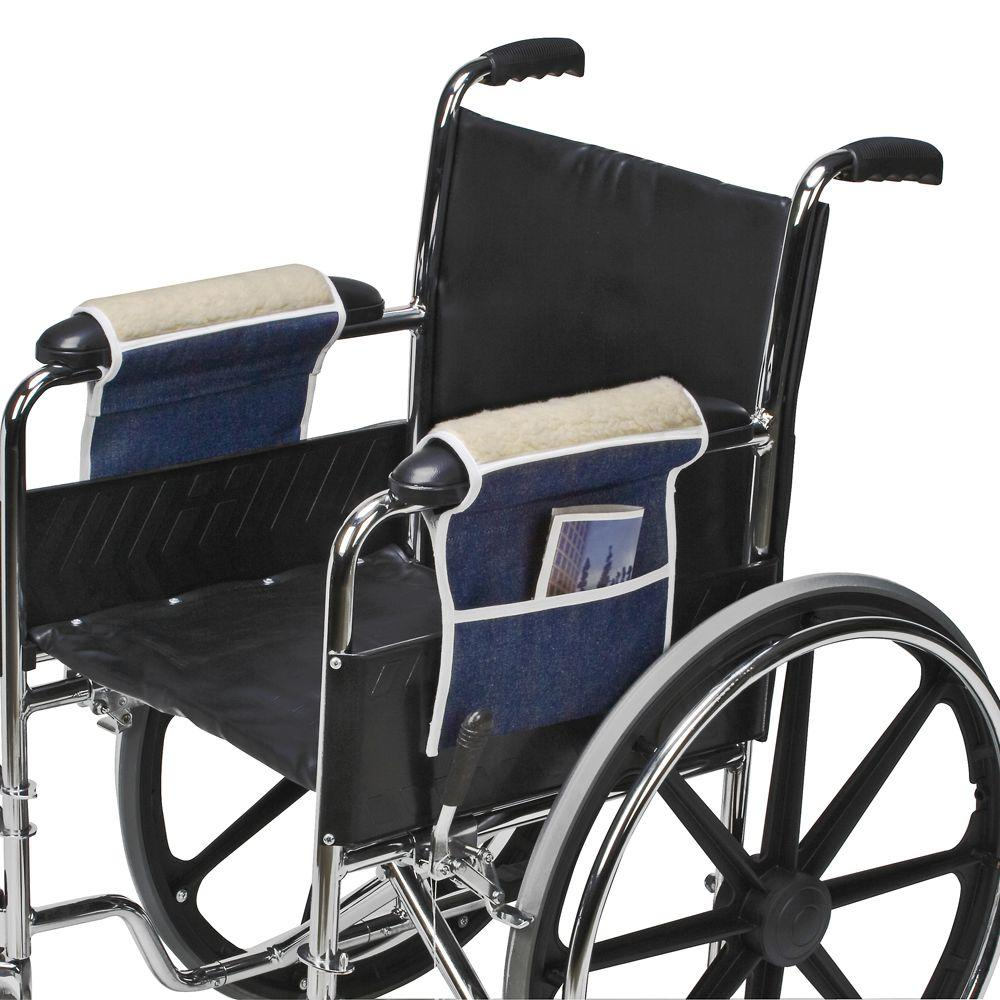 null Fleece Wheelchair Armrests with Pouch