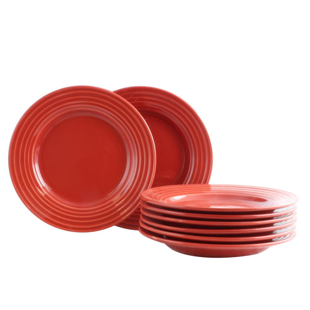 GIBSON HOME Plaza Cafe 8.5 in. Red Dessert Plate (Set of 8 ...