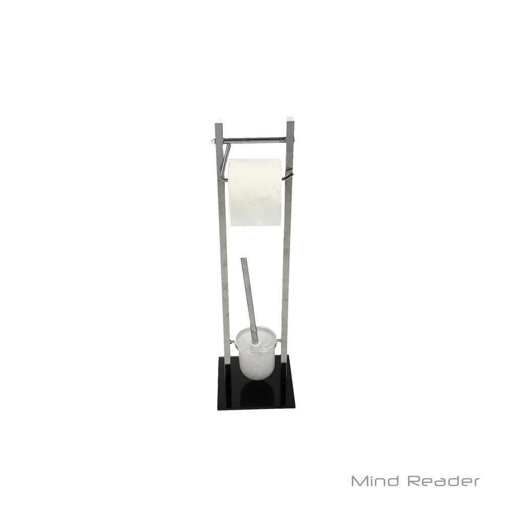 Mind Reader Toilet Paper Holder and Toilet Brush Holder in Silver