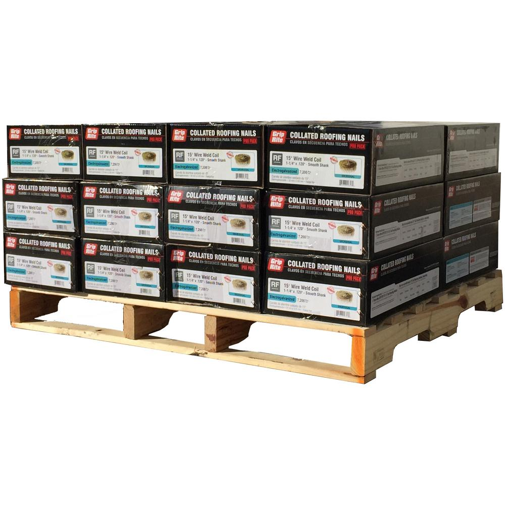 1-1/4 in. x 0.120 in. 15 Electro Galvanized Coil Roofing Nails (7,200-Box, 24-Box Pallet)