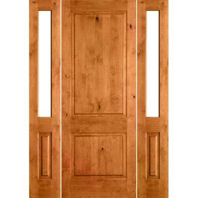 58 in. x 80 in. Rustic Unfinished Knotty Alder Square-Top Wood Left-Hand Half Sidelites Clear Glass Prehung Front Door