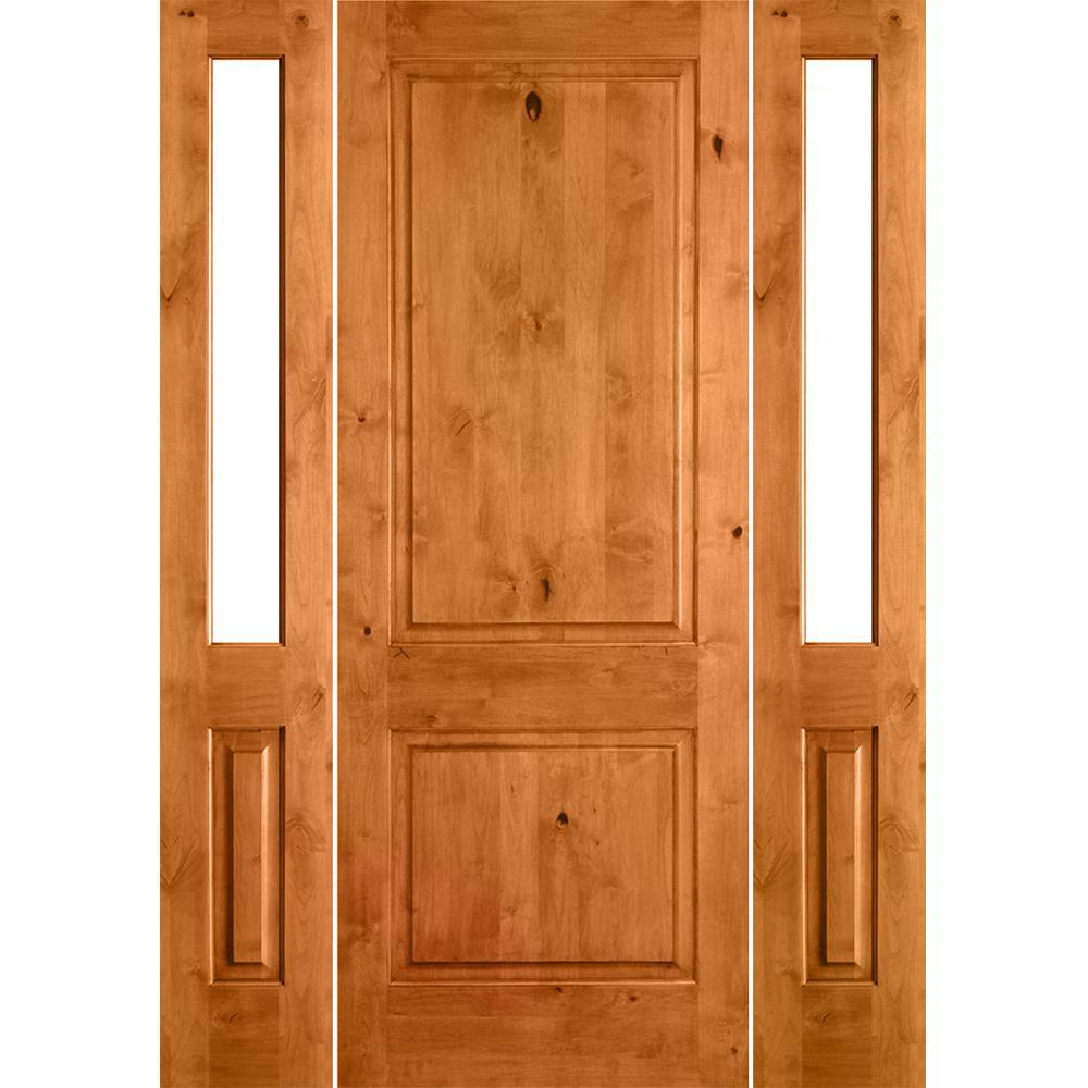 Krosswood Doors 70 in. x 96 in. Rustic Alder Square Top Clear Low-E Glass Unfinished Wood Left-Hand Prehung Front Door/Half Sidelites