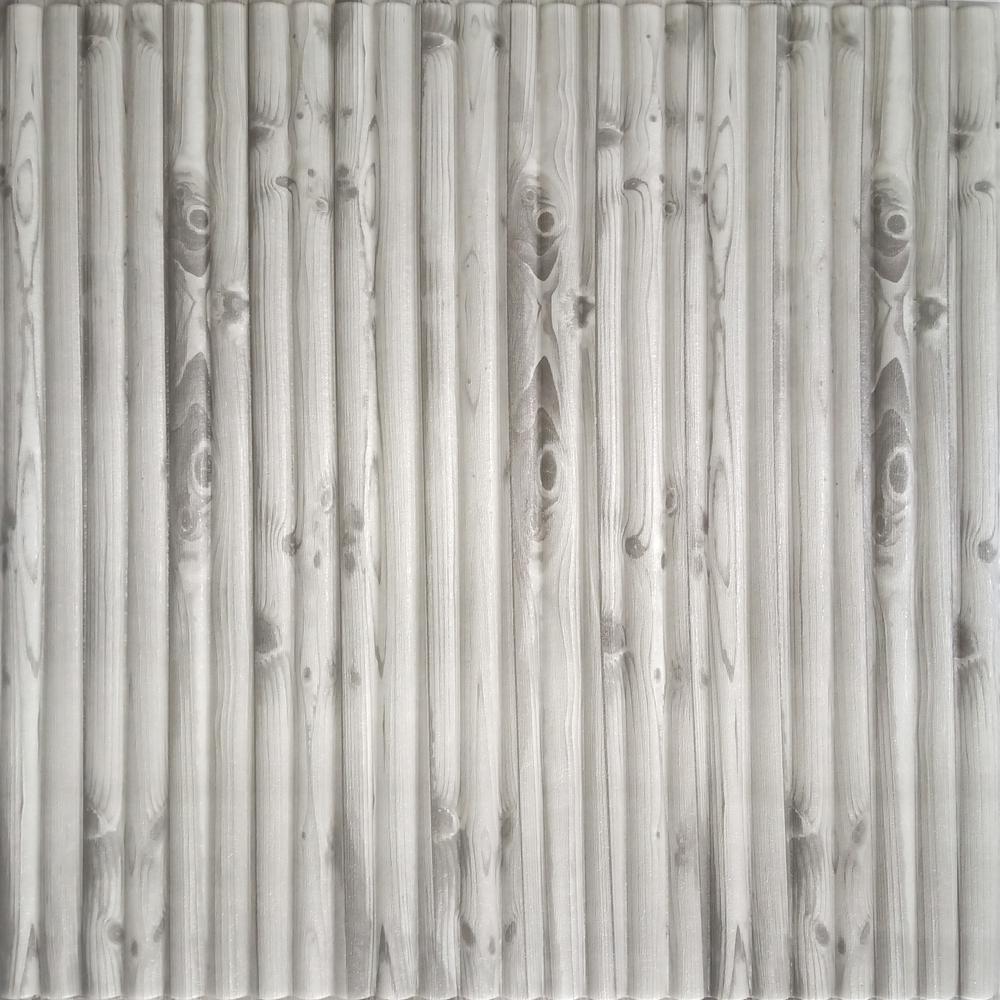 Falkirk Jura II 1/3 in. 28 in. x 28 in. Peel and Stick Off White, Grey Bamboo PE Foam Decorative Wall Paneling (10-Pack)