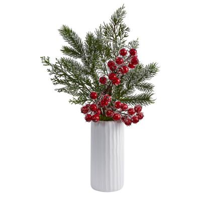 19 in. Iced Pine and Berries Artificial Arrangement in White Vase