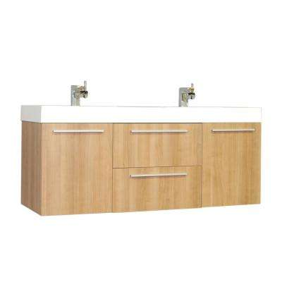 Ripley 54.25 in. W x 18.75 in. D x 23.25 in. H Vanity in Light Oak with Acrylic Vanity Top in White with White Basin