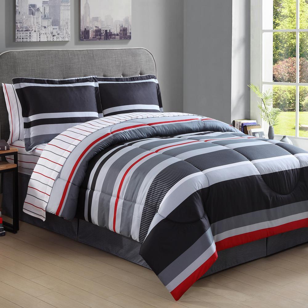 Ellison Studio Arden 8-Piece Black and Red Queen Bed in a Bag Set