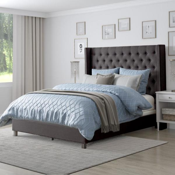 CorLiving Fairfield Dark Grey Tufted Fabric Queen Bed with Wings BBT-390-Q