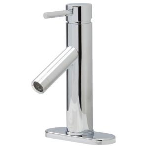 Single Hole 1 Handle Bathroom Faucet In Chrome With Deck Plate