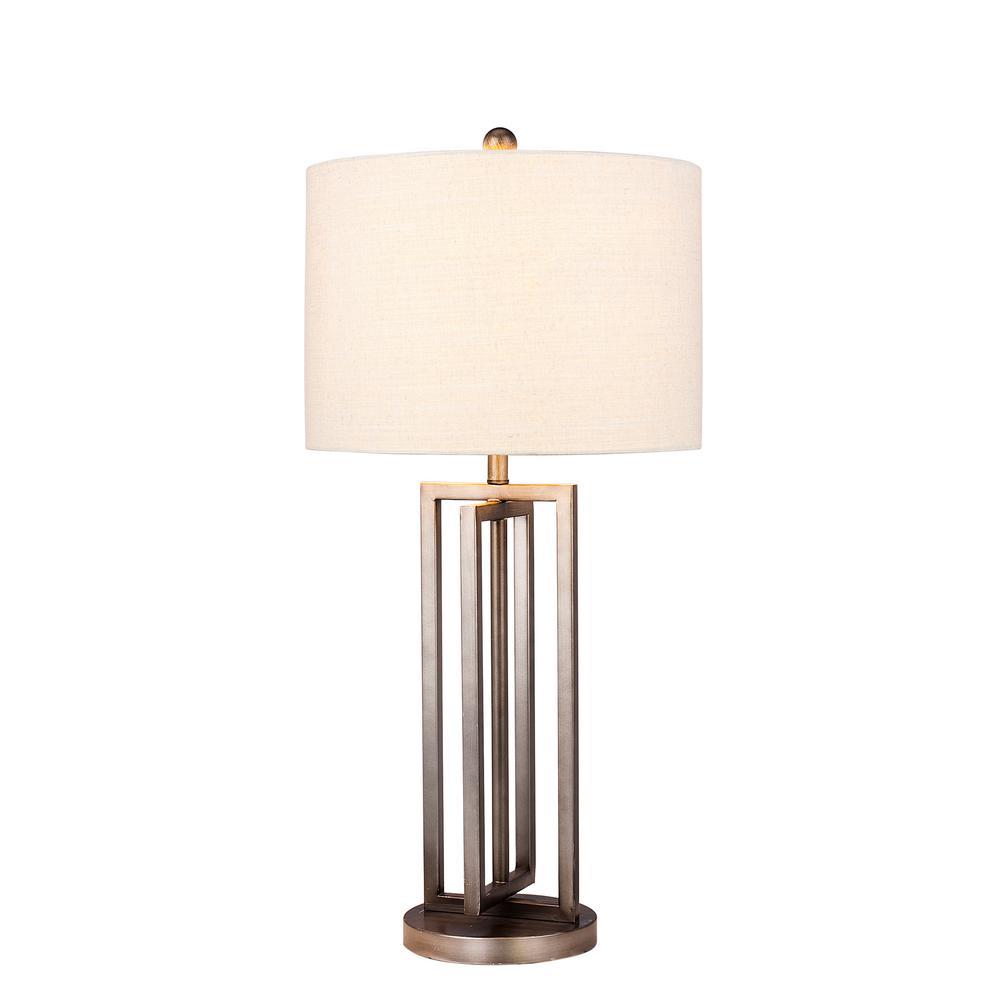29 in. Dark Silver Metal Table Lamp with Modern Crisscross Cross Design