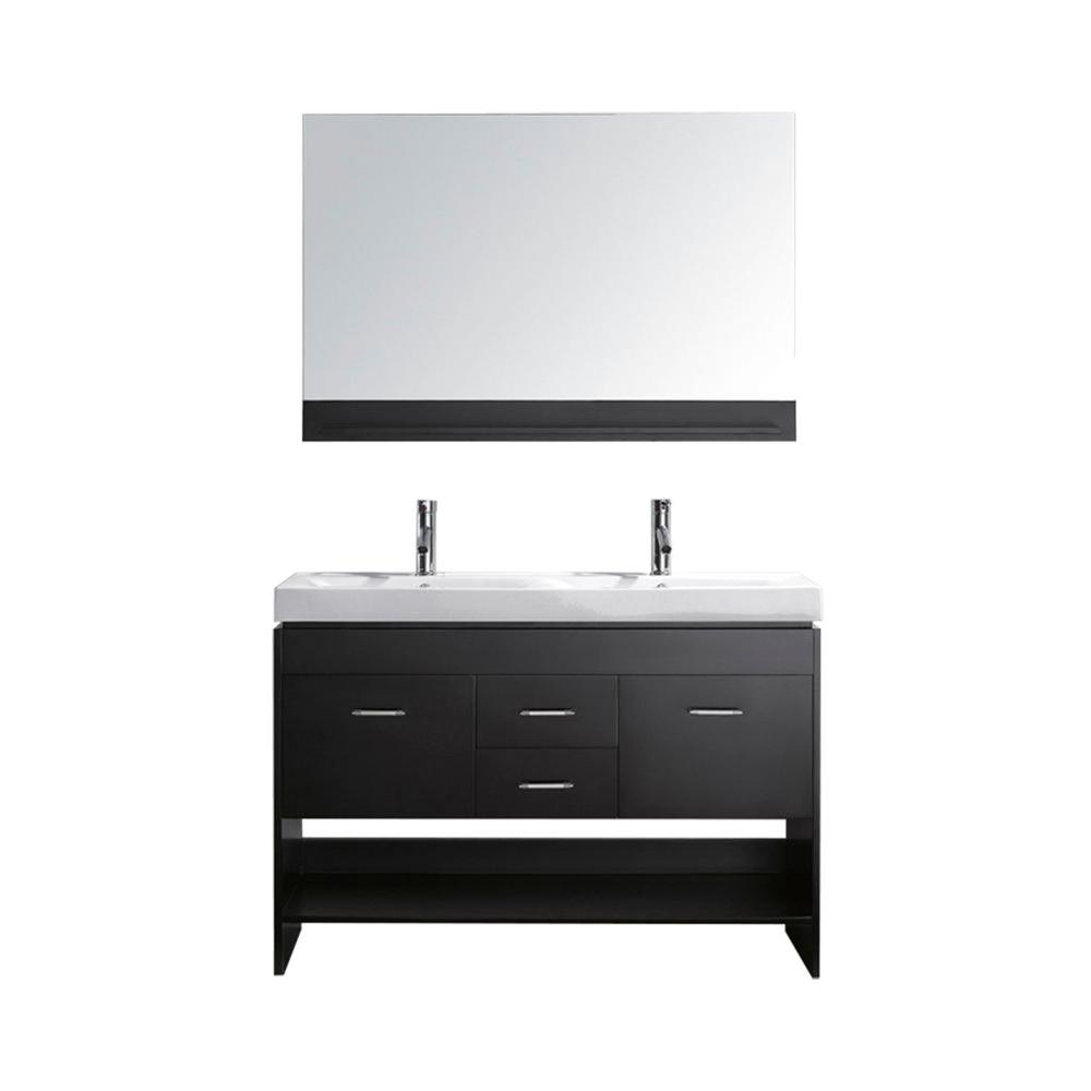 Virtu USA Gloria 48 in. Double Basin Vanity in Espresso with Porcelain Vanity Top in White and Mirror