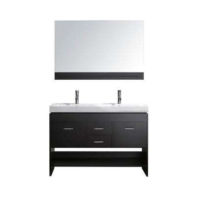 Gloria 48 in. Double Basin Vanity in Espresso with Porcelain Vanity Top in White and Mirror