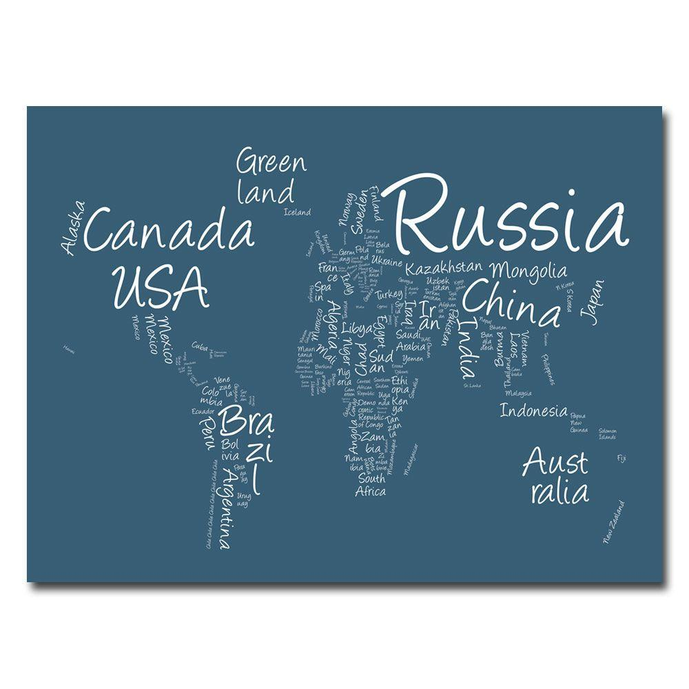35 in. x 47 in. Writing World Map Canvas Art