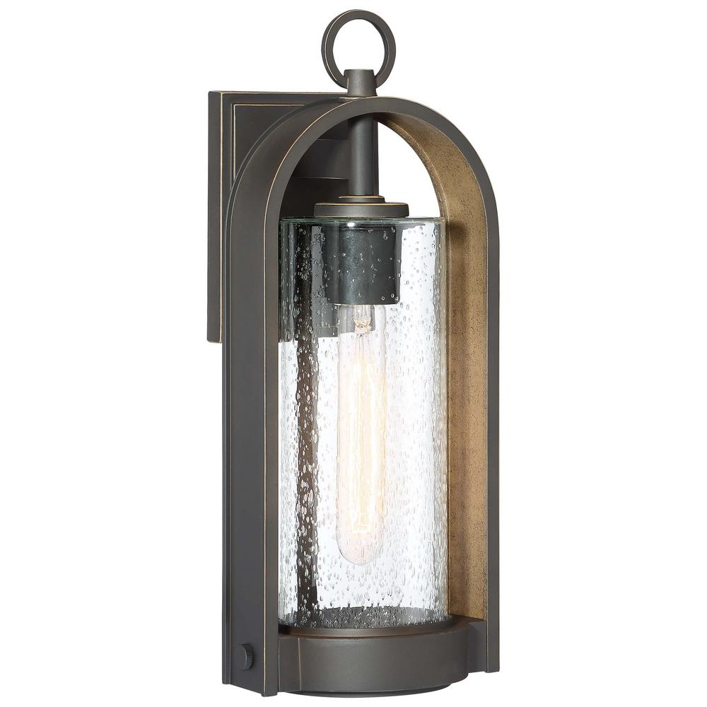 Minka Lavery Kamstra 1-Light Oil Rubbed Bronze with Gold Highlights Outdoor Wall Lantern Sconce