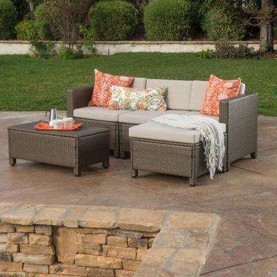 Puerta Brown 5-Piece Wicker Outdoor Sectional with Ceramic Grey Cushions