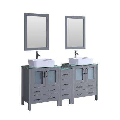 Bosconi 72 in. Double Vanity in Gray with Vanity Top in Green with White Basin and Mirror