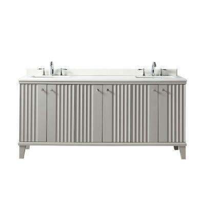 Parker 72 in. W x 22 in. D Vanity in Bedford Grey with Quartz Vanity Top in White with White Basin