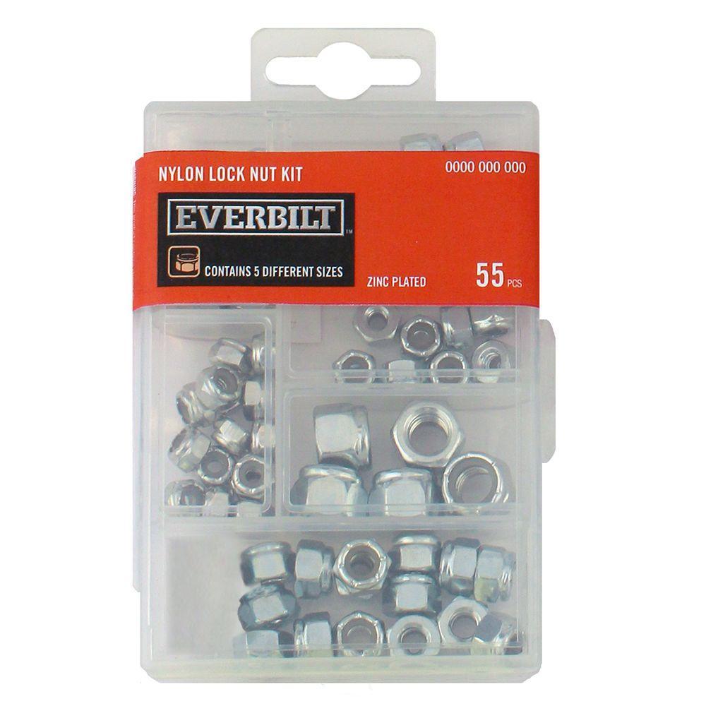Zinc-Plated Nylon Locknut Kit (55-Piece)