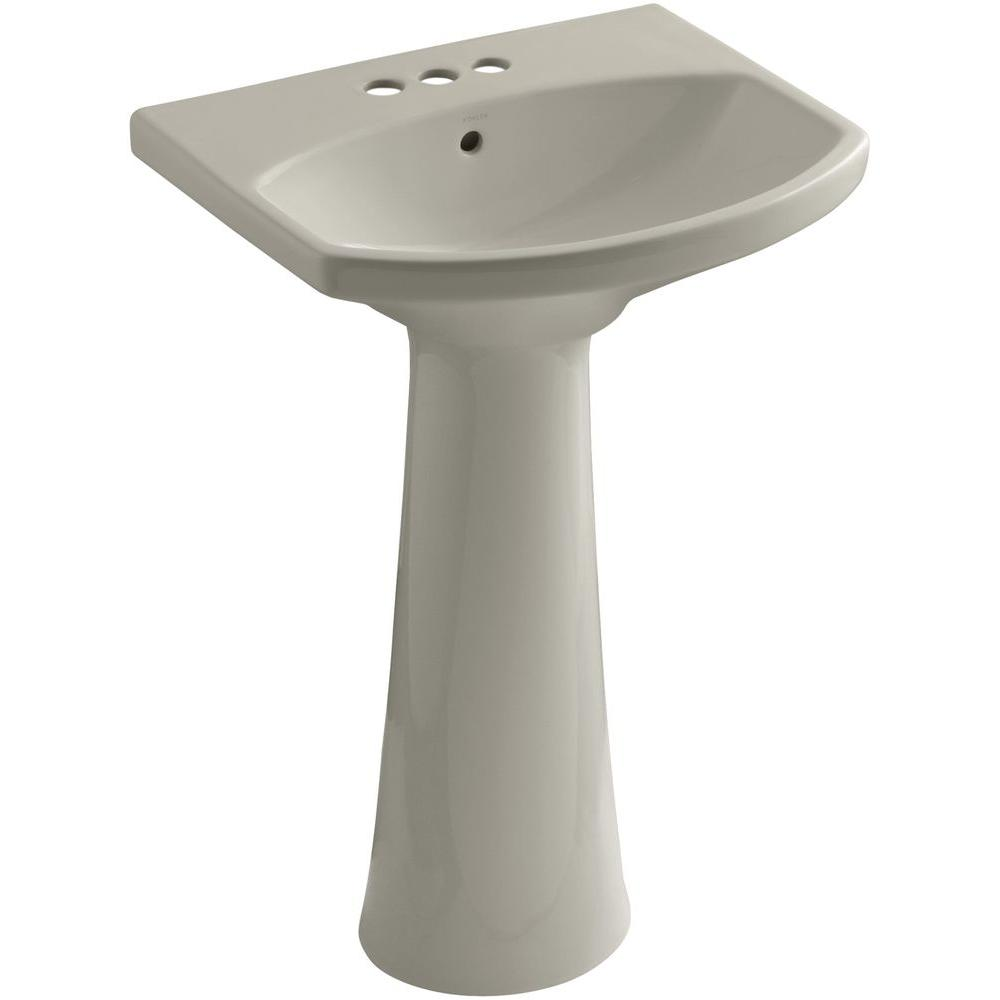KOHLER Cimarron 4 in. Centerset Pedestal Combo Bathroom Sink in Sandbar with Overflow Drain