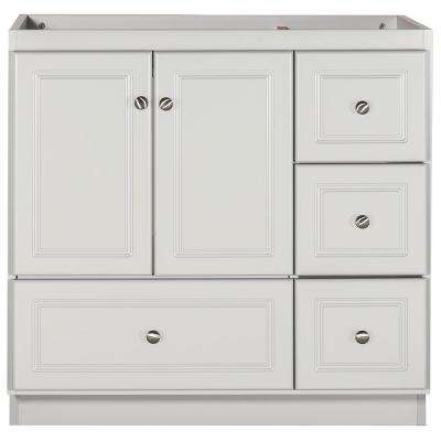 Ultraline 36 in. W x 21 in. D x 34.5 in. H Bath Vanity Cabinet Only with Right Drawers in Dewy Morning