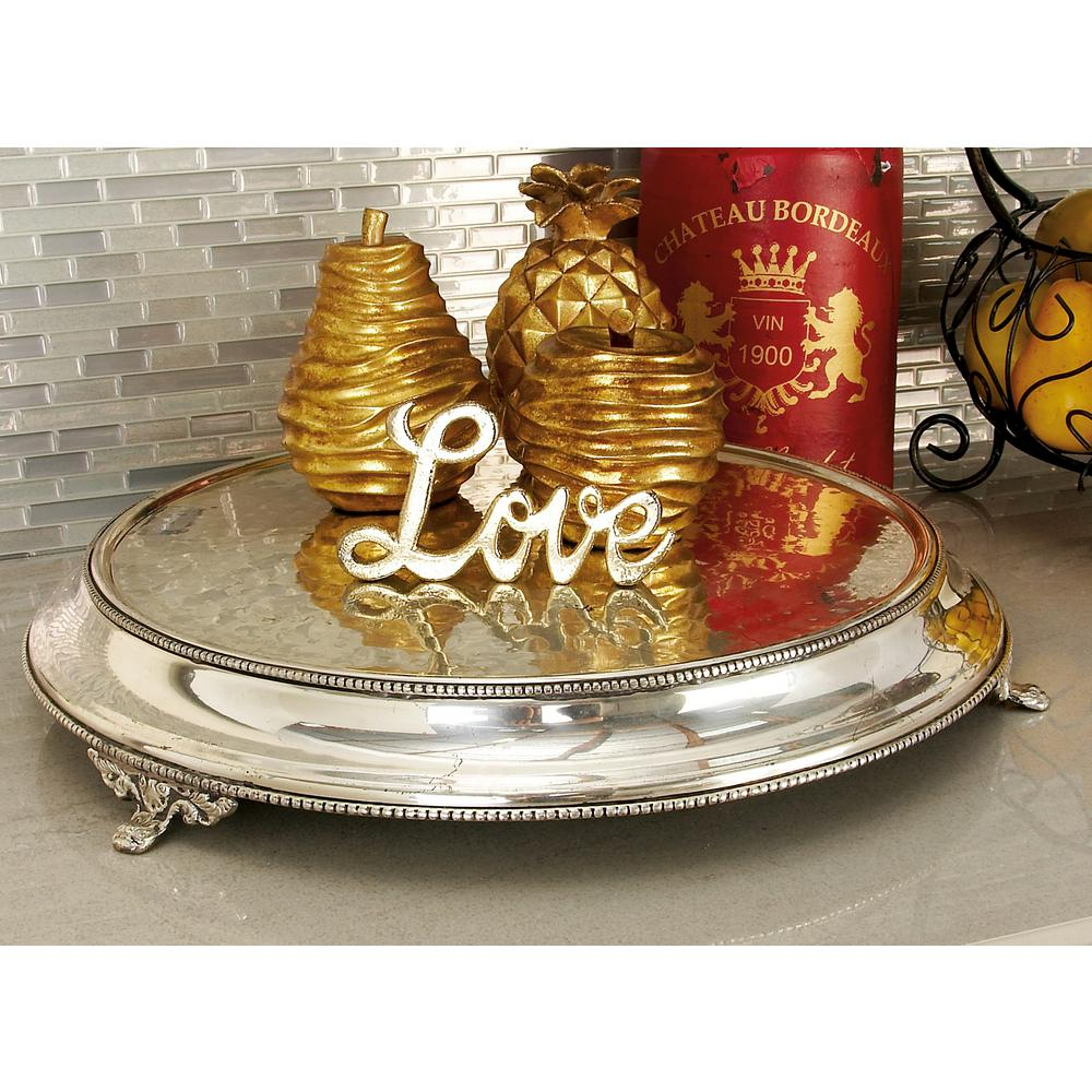 15 in. Dia Polished Silver Stainless Steel Round Dais Cake Stand