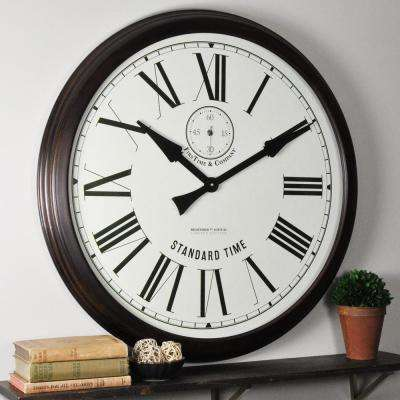 29 in. Brown Oversized Heritage Wood Wall Clock