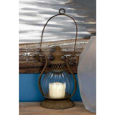 Rustic 11 in. Traditional Rusted Iron and Glass Candle Lantern