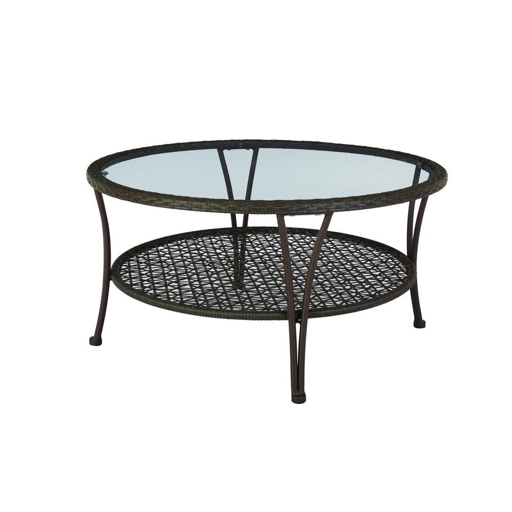 Hampton bay arthur all weather wicker patio coffee table hd16403 the home depot Patio coffee tables