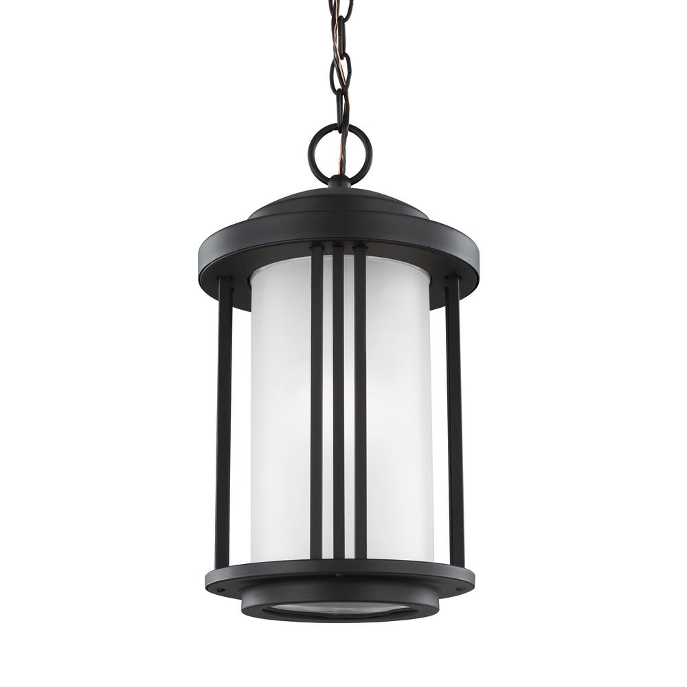 Crowell Black 1-Light Outdoor Hanging Pendant with LED Bulb