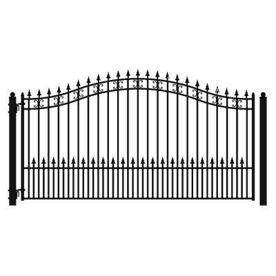 St. Petersburg Style 16 ft. x 6 ft. Black Steel Single Swing Driveway Fence Gate