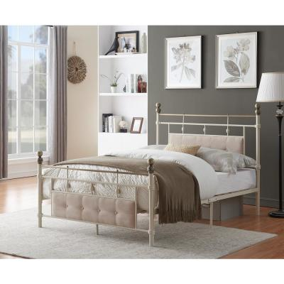 79.25 in. Ivory-White Metal Bed Frame Full Size with Headboard and Footboard Platform, Metal Tube , Modern Iron-Art Bed