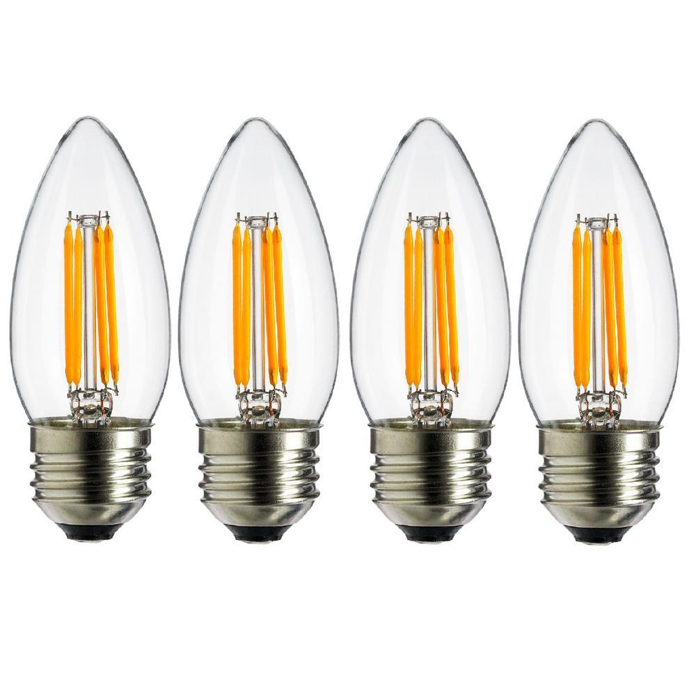 40-Watt Equivalent B11 Vintage Filament Chandelier LED Light Bulb in Warm White, 2700K (4-Pack)
