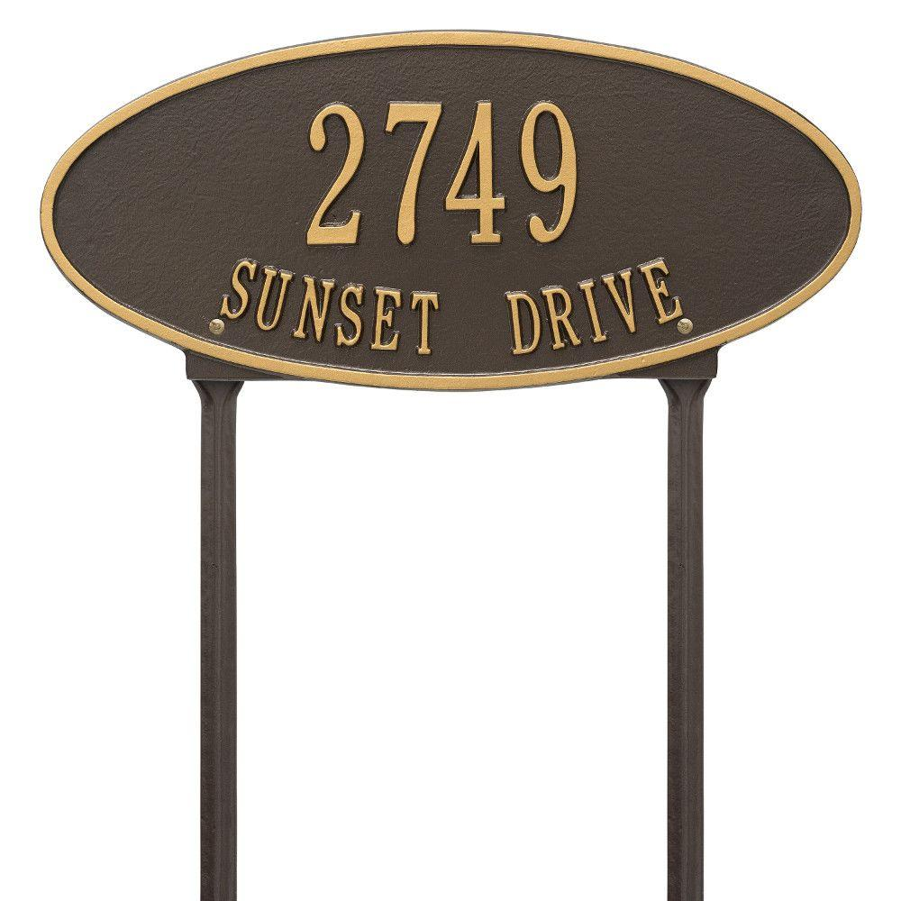 Whitehall Products Madison Oval Standard Lawn 2-Line Address Plaque - Bronze/Gold