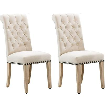 Beige Luxury Fabric Dining Chair with Copper Nails and Solid Wood Feet (Set of 2)