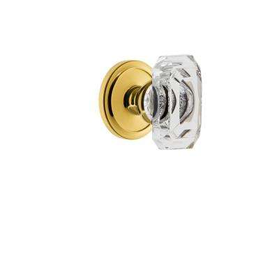 Circulaire Rosette Double Dummy with Baguette Crystal Door Knob in Polished Brass