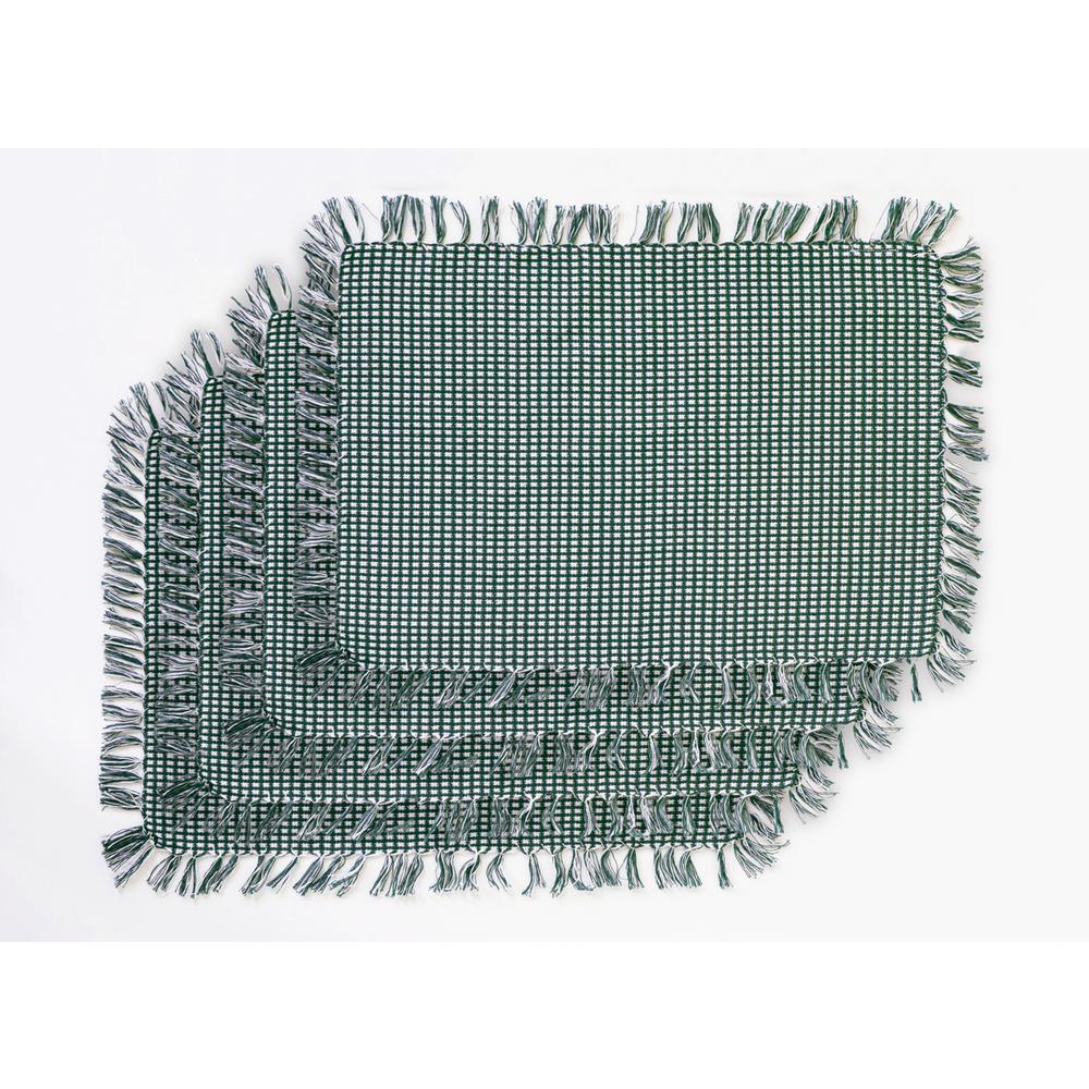 Homespun Fringed Hunter Green 100% Cotton Placemat (Set of 4)