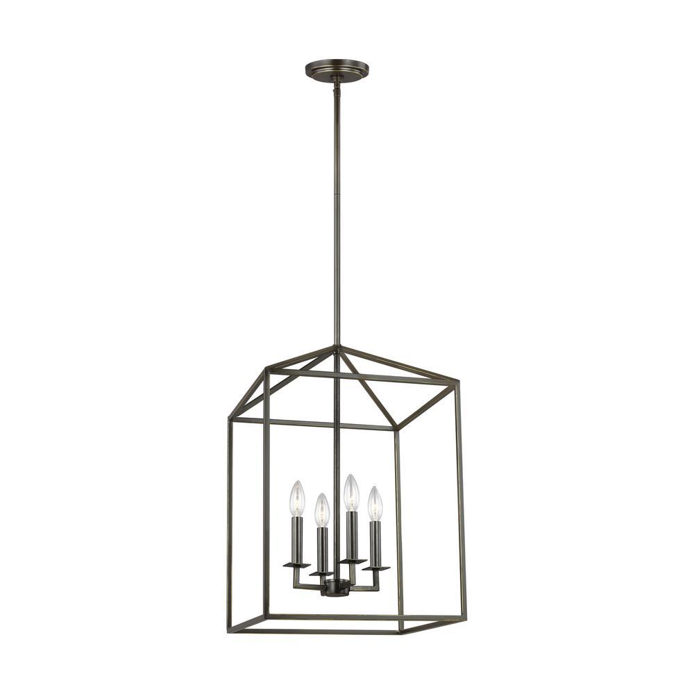 Perryton 4-Light Heirloom Bronze Lantern Pendant with Dimmable Candelabra LED Bulb