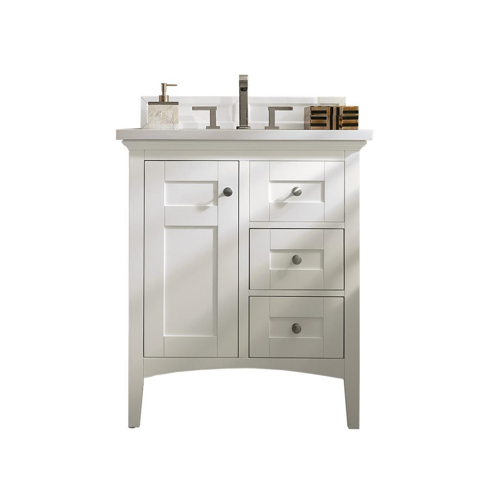 Palisades 30 in. W Single Vanity in Bright White with Marble Vanity Top in Carrara White with White Basin