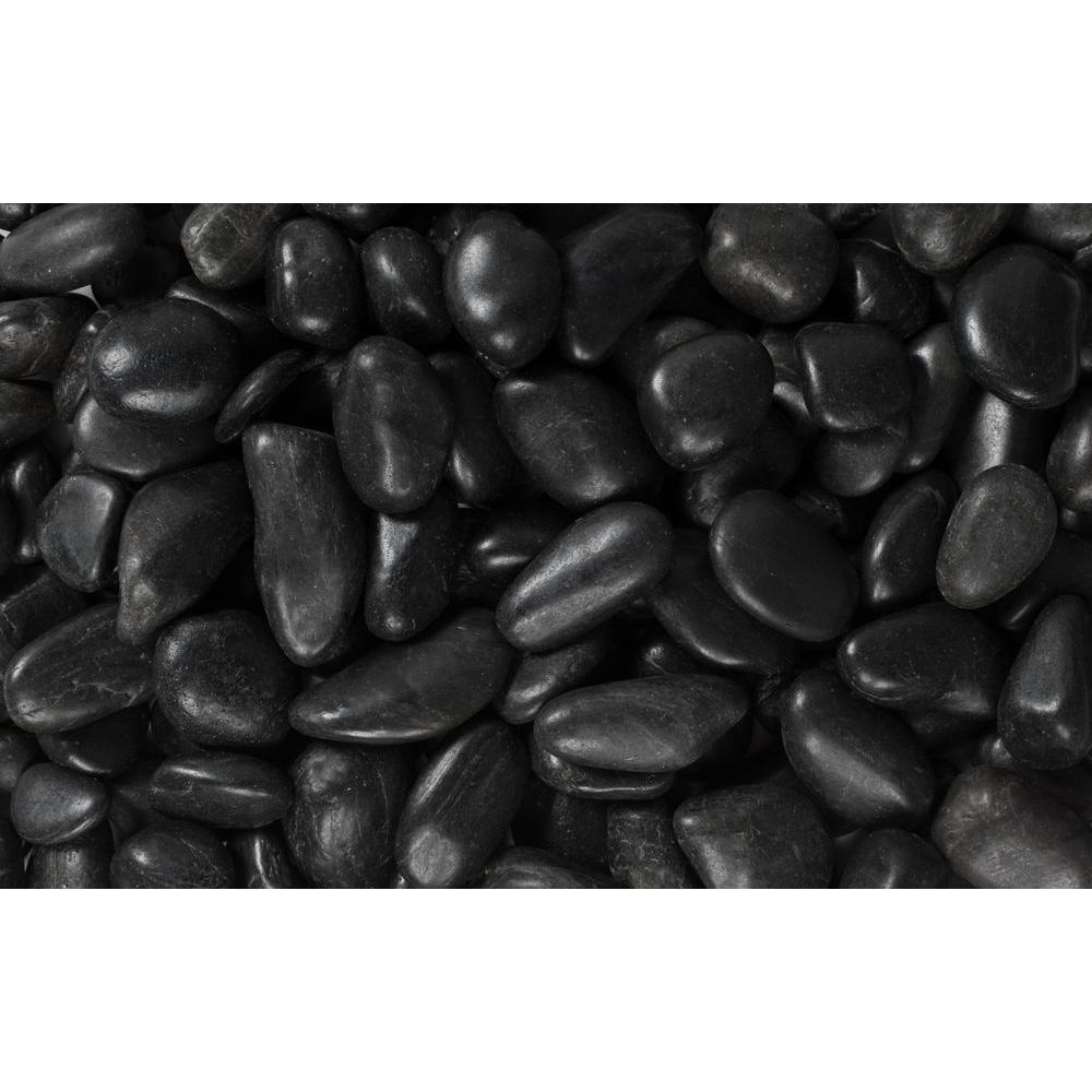 Rain Forest 0.5 in. to 1.5 in., 2200 lb. Small Black Grade A Polished Pebbles Super Sack