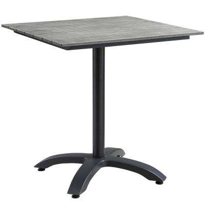 Maine 28 in. Metal Patio Outdoor Dining Table in Brown Gray