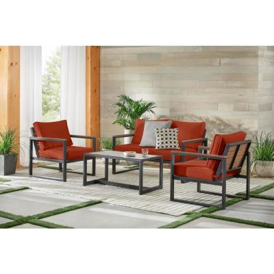 West Park 4-Piece Black Aluminum Outdoor Patio Conversation Set with CushionGuard Quarry Red Cushions