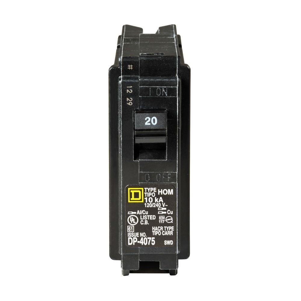 Square D Homeline 20 Amp Single Pole Circuit Breaker