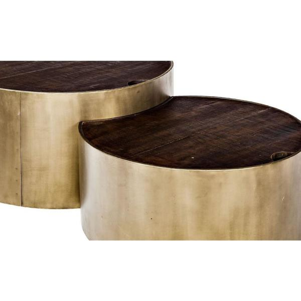 Mercana - Eclipse 2-Piece 36 in. Brown/Gold Medium Round Wood Coffee Table Set with Lift Top